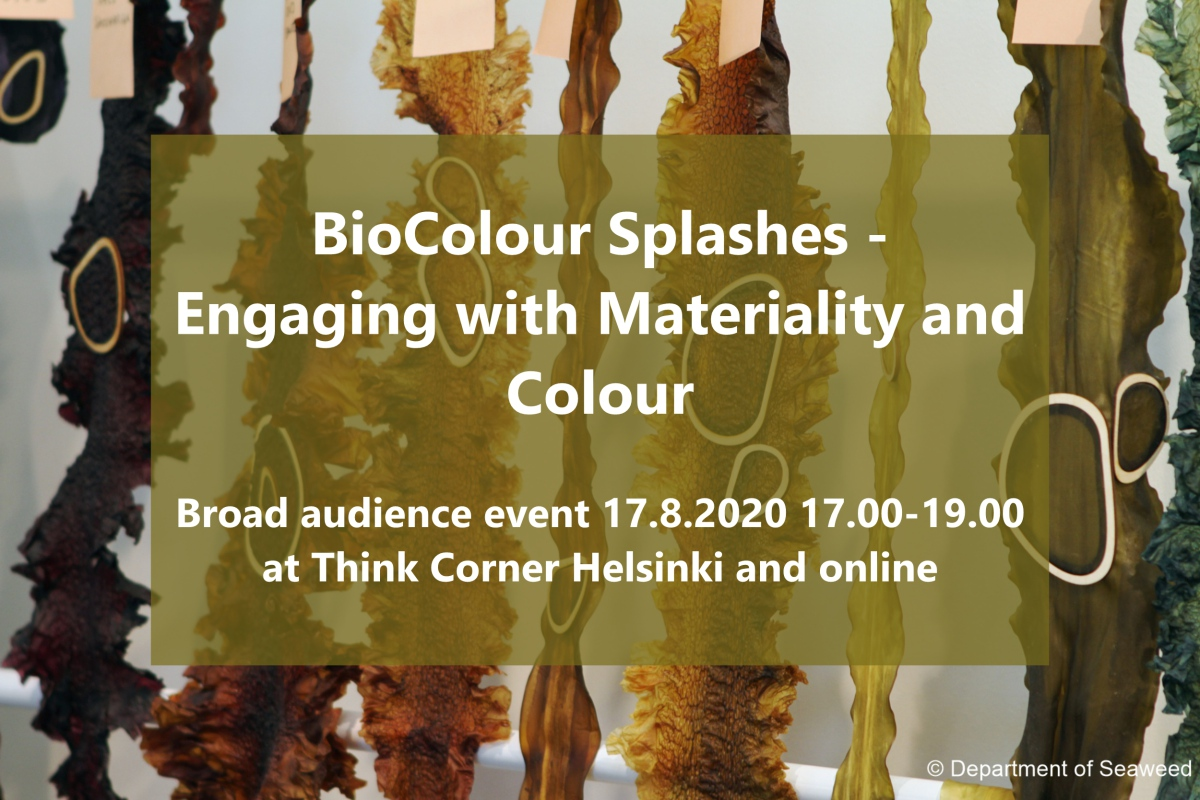 Cover for article 'BioColour Splashes – Engaging with Materiality and Colour 17.8.2020 at Think Corner'