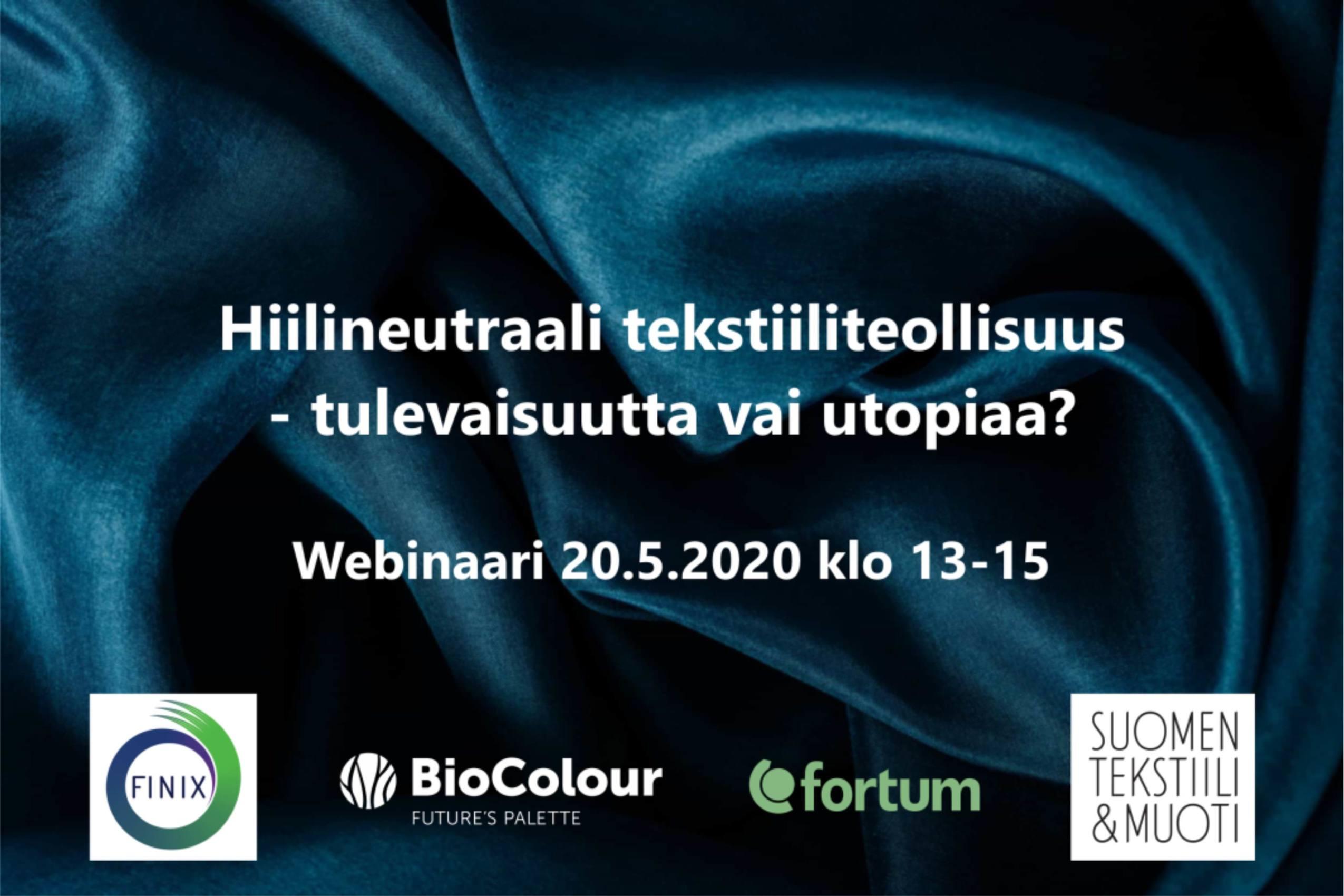 Cover for article 'Hiilineutraali tekstiiliteollisuus – tulevaisuutta vai utopiaa? -webinaari 20.5.2020'