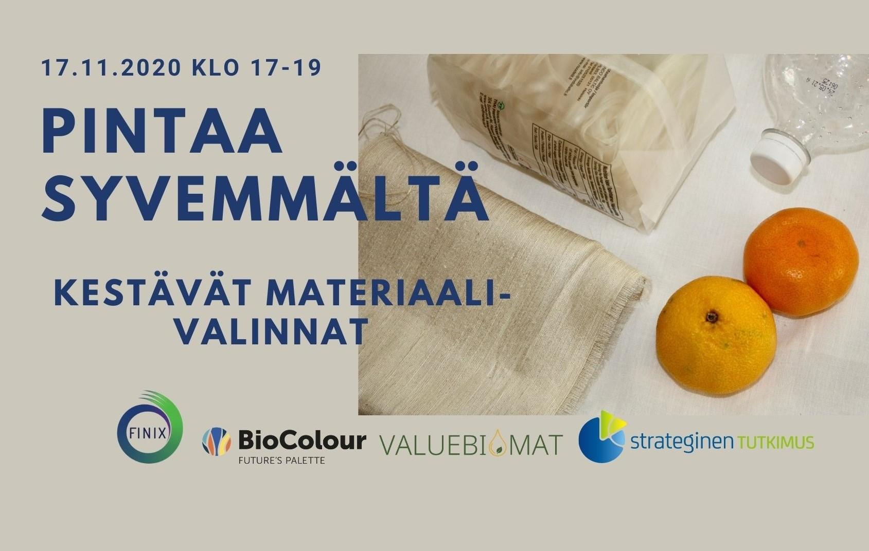 Cover for article 'Pintaa syvemmältä – kestävät materiaalivalinnat 17.11.2020 Tiedekulmassa'