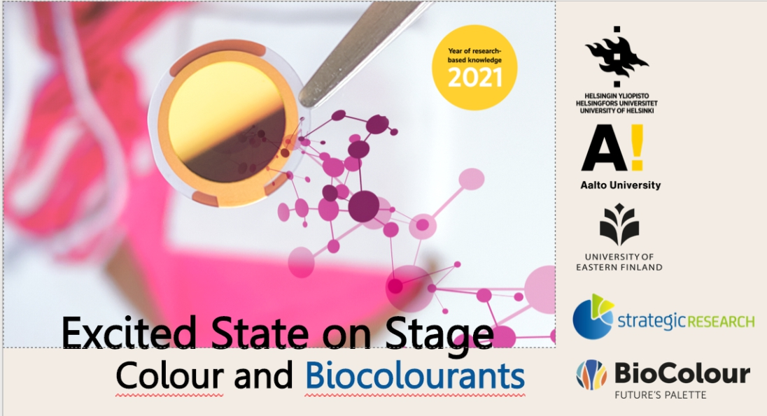 Cover for article 'Excited State on Stage – Colour and Biocolourants 20.4.2021'