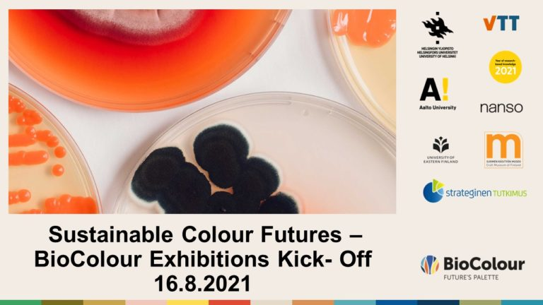 Cover for article 'SustainableColourFutures –BioColourExhibitions Kick-Off 16.8.2021'